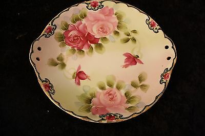 Beautiful Antique Hand Painted Decorative Plate w/ Rose Designs & Handles 10""