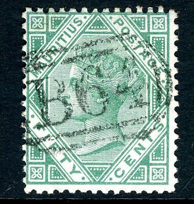 SEYCHELLES/MAURITIUS-1879-80 50c Green very fine  used in Seychelles Sg Z53