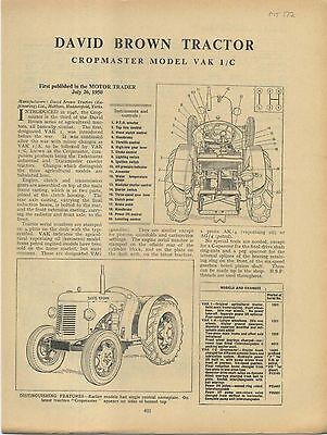 David Brown Tractor Cropmaster VAK 1/C Motor Trader Service Data No. 172 1950