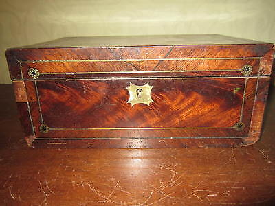 An old Georgian or  Victorian brass inlaid box for restoration