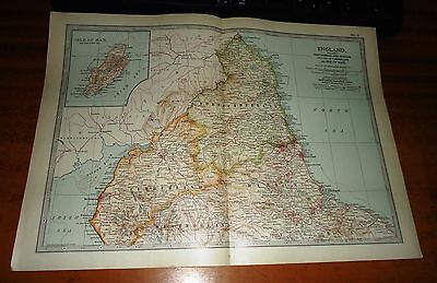 ENGLAND Isle Of Man NORTHUMBERLAND -  ADAM & CHARLES Antique Map 1903