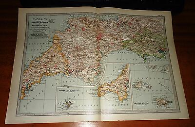 ENGLAND Cornwall DEVON Dorset CHANNEL ISLANDS -  ADAM & CHARLES Antique Map 1903