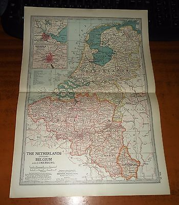 THE NETHERLANDS Holland BELGIUM Luxembourg -  ADAM & CHARLES Antique Map 1903
