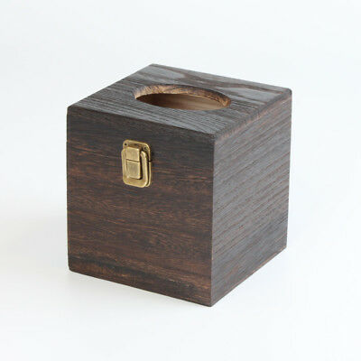 LOO Rustic Wooden Square Tissue Box Cover Holder Vintage Brown