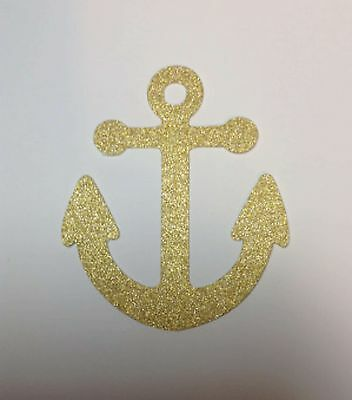 """Nautical Anchors Gold Glitter Die Cuts - Set 12 Party Decorations 3.5"""" H"""