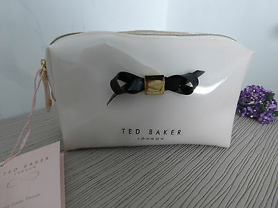 BNWT TED BAKER Nellyy Slim Bow Cream Cosmetic Purse Make Up Small Wash Bag Case