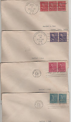 """Usa - 1938  Early 4 """"first Day Covers"""" - Rare"""