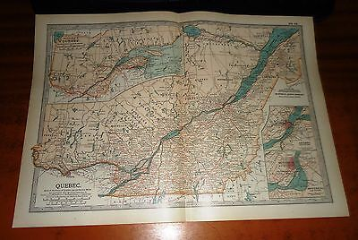 QUEBEC - Canada ADAM & CHARLES Antique Map 1903