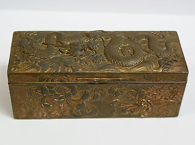 Antique Japanese Embossed Metal Box With Dragon & Chrysanthemums