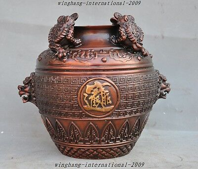 Chinese fengshui bronze golden toad bufo wealth lucky statue tanks bottle pot