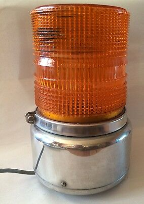Whelen 1200 Amber Emergency Fire Truck Beacon Light Vintage Chrome Large