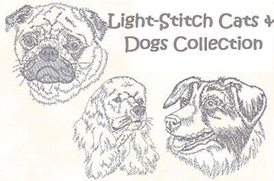 Light-Stitch Cats & Dogs Collection - Machine Embroidery Designs On Cd