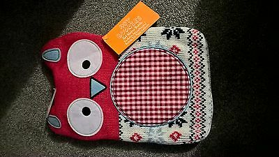 BNWT owl hot water bottle cover with bottle