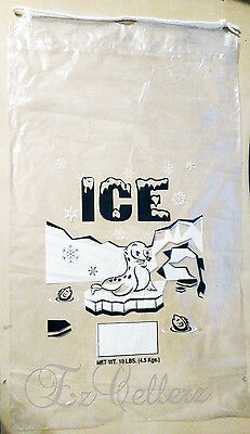 10 LBS Plastic Ice Bags with Drawstring **PACK OF 100** Case FREE SHIPPING NEW