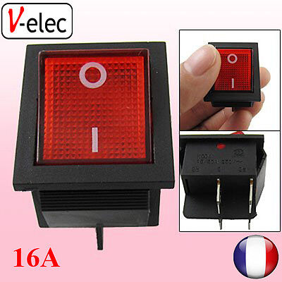 Red Light Illuminated 4 Pin DPST interrupteur à bascule 16A rouge V-ELEC
