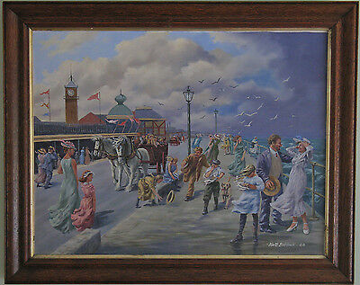 Framed Original Oil Painting on Canvas Cleethorpes Promenade by Keith Baldock