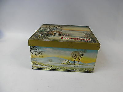 Vintage Brookes-Beattie Large Empty Greetings Biscuit Tin with Winter Scene