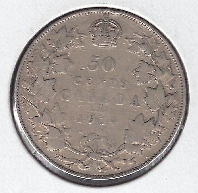 1914 Fifty Cents - Silver Canadian Coin Nice
