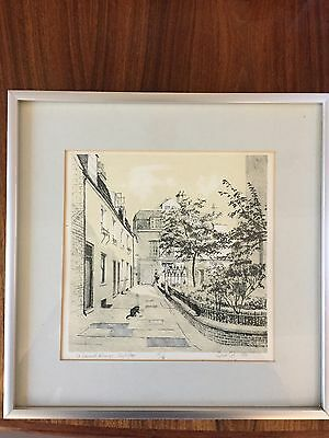 Richard sell print in frame signed and dated 1980 St Edwards Passage Cambridge