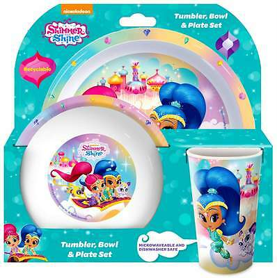 Shimmer and Shine 3-Piece Dinnerware Set | Tumbler, Bowl and Plate
