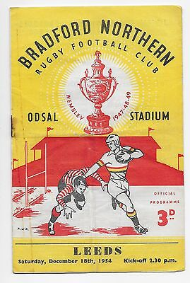 Bradford Northern V Leeds 1954 Rugby League Programme England Australia