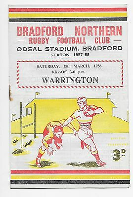 Bradford Northern V Warrington 1958 Rugby League Programme England Australia