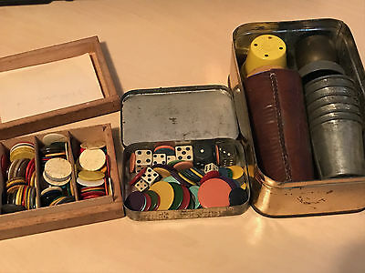Large Lot of Vintage Dice, Shakers & Playing Counters - Bone, Wooden, Bakelite