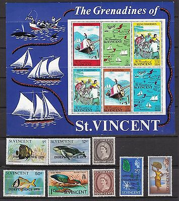 St Vincent Small Group Stamps & Souvenir Sheets QEII Period UMM MNH