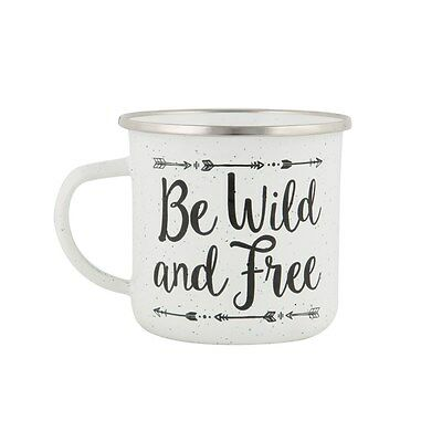 Be Wild And Free Retro Vintage Style Enamel Mug Cup Travel Camping Festival Gift