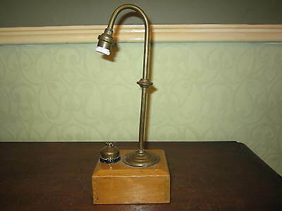 A vintage wood and brass battery powered lamp - camping  reading light / lantern