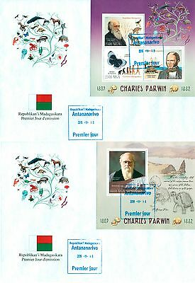 Charles Darwin Science Prehistoric Butterflies Turtles Madagascar FDCs cover set