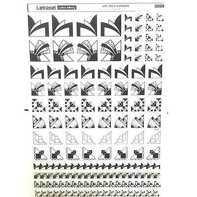 NEW & UNUSED SHEET LETRASET INSTANT RUB ON TRANSFERS Art Deco Corners