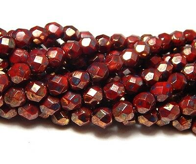 25 6mm Red Bronze Faceted Beads Firepolish Picasso Czech Round Crystals T-47A