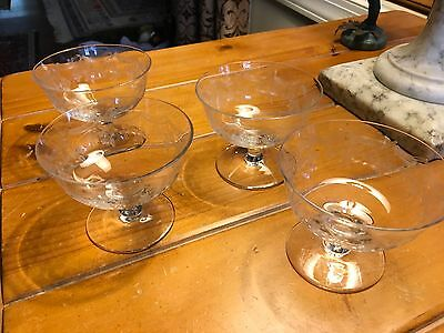 Set of (4) Clear Needle Etched Crystal Footed Sherbet/Dessert Bowls