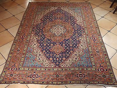 Antique And Elegant Hand Knotted Persian Kashan 6.6X9.5Ft Rug H3