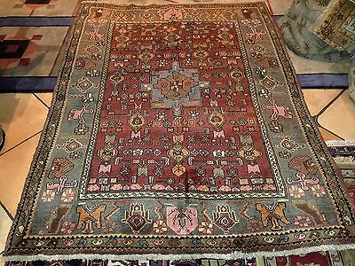Vintage 100% Wool Hand Knotted Persian Bidjar 4.5X6Ft Rug E3