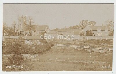 Croft - view across river to church & houses 1905 (Pell) RP postcard Leicester