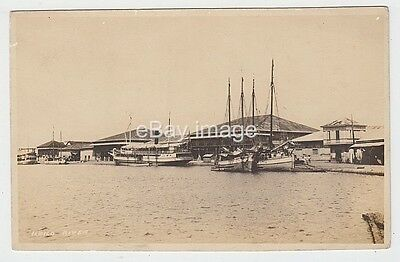 Philippines - Iloilo River with steamer & buildings on shore 1930s? RP postcard