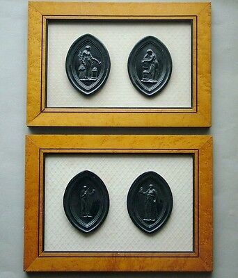 Four Medieval Style Seals Mounted & Framed, Muses of Ancient Greece? Greco Roman