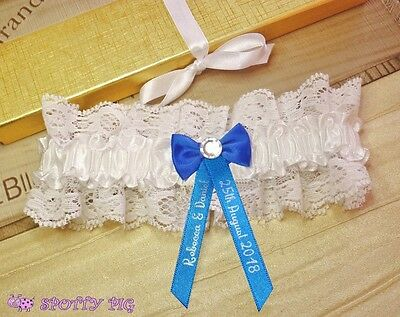 Personalised Royal Blue & White Bridal Garter Wedding Handmade Lingerie Crystal