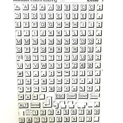 NEW & UNUSED LETRASET INSTANT RUB ON TRANSFER LETTERS Keyboard 16mm