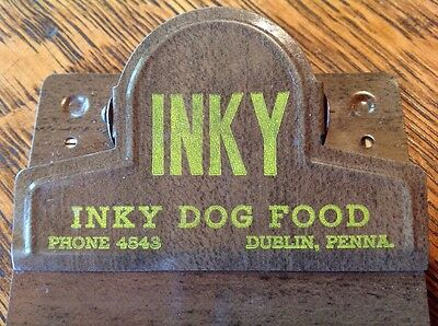 VTG Inky Dog Food METAL Advertising Sign Clipboard MID-CENTURY Dublin Penna. PA