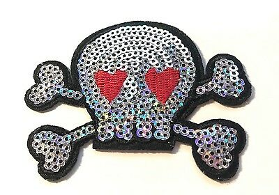 Ecusson patch tête de mort paillette couleur argent custom thermocollant