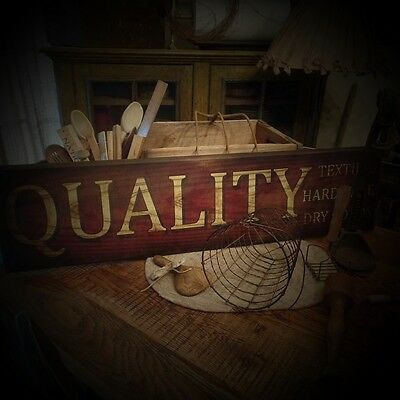Primitive~Farmhouse~Quality Textiles~Hardware~Dry Goods~Wood Sign~Distressed