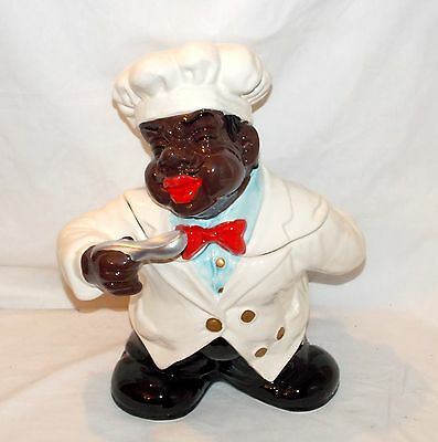 """New 14"""" X-Large 3d Black African American Chef Cook Ceramic Cookie Jar Canister"""