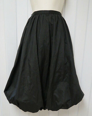 Vintage Early 1950s Black A-Line Bubble Skirt with Pockets 27 inch waist