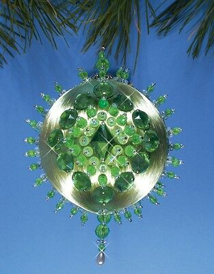 Design Works SHADES OF GREEN Jeweled Satin Ball Ornament Kit