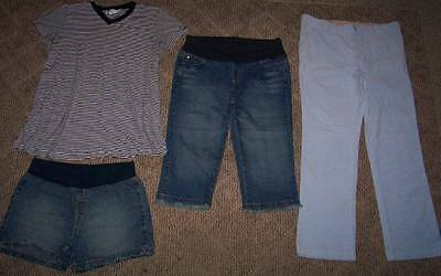 MOTHERHOOD (OH BABY} MATERNITY LOT WOMENS Size L PANTS/CAPRIS/SHORTS/TOP
