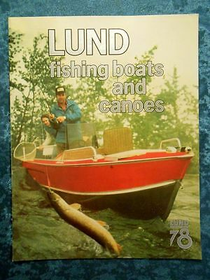RARE 1978 LUND FISHING BOATS AND CANOES Sales Brochure Dealer Stamped