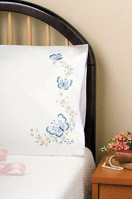 Tobin Home Crafts Butterfly Pillowcases Embroidery Kit New
